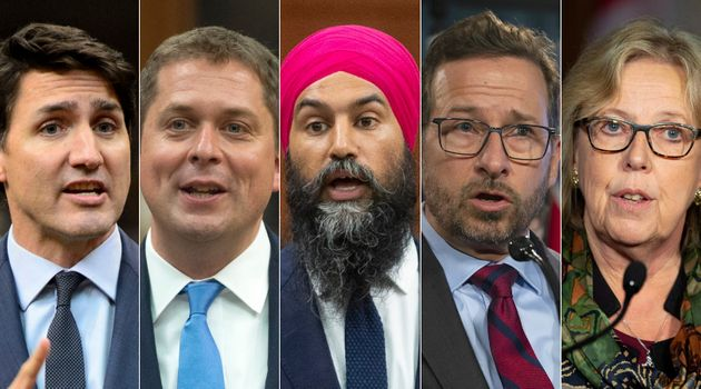 From left to right: Justin Trudeau, Andrew Scheer, Jagmeet Singh, Yves-François Blanchet and Elizabeth...