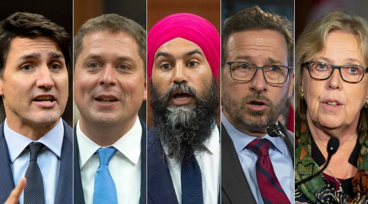 From left to right: Justin Trudeau, Andrew Scheer, Jagmeet Singh, Yves-François Blanchet and Elizabeth May confirmed they will be participating in the English and French debates at the Canadian Museum of History in Gatineau, Que.