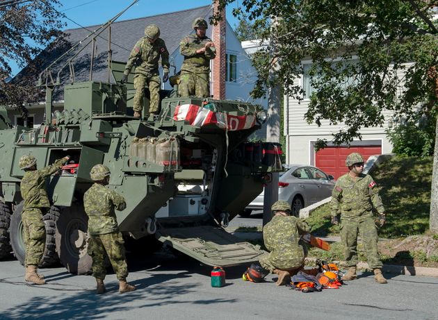 Canadian forces assist in the Hurricane Dorian cleanup in Halifax on Sept. 9,