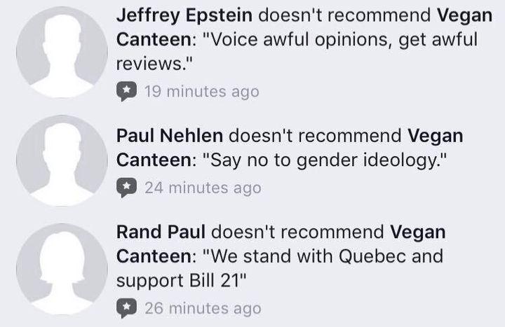 Voici une capture d'écran que nous a envoyée Sophia Banks pour illustrer le genre de commentaires qu'on retrouvait sur sa page.