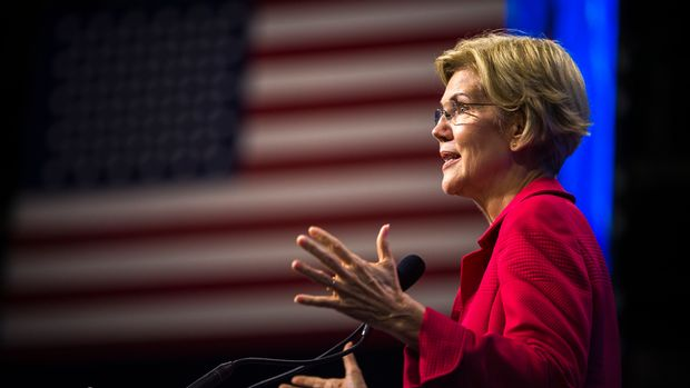 MANCHESTER, NH - SEPTEMBER 7: U.S. Senator Elizabeth Warren speaks during the New Hampshire Democratic Party State Convention at the SNHU Arena in Manchester, NH on Sep. 7, 2019. (Photo by Nic Antaya for The Boston Globe via Getty Images)