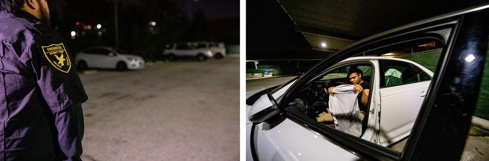 Cameron Jones, 26 ans, ancien Marine ayant servi en Afghanistan, s'apprête à dormir sur un parking sécurisé...