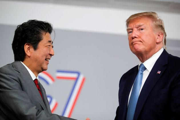 U.S. President Donald Trump and Japan's Prime Minister Shinzo Abe hold a bilateral meeting during the...