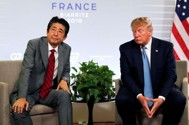 U.S. President Donald Trump and Japan's Prime Minister Shinzo Abe attend a bilateral meeting during the...
