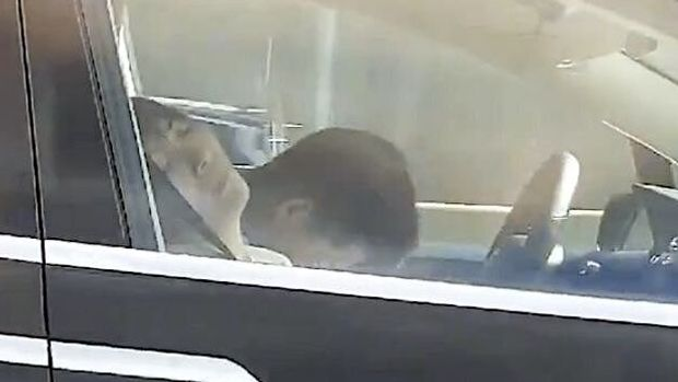 Tesla driver asleep at the wheel on Massachusetts Turnpike.