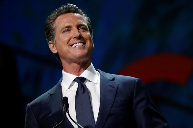 California's Governor Gavin Newsom speaks during the California Democratic Convention in San Francisco,...