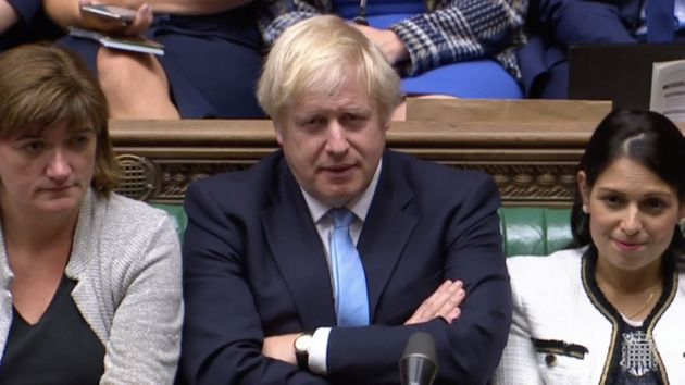 Britain's Prime Minister Boris Johnson is seen after BritainÕs parliament voted on whether to hold an...