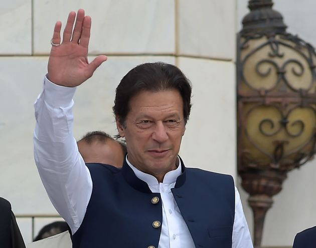 Pakistan's Prime Minister Imran Khan outside the Prime Minister Secretariat building in Islamabad on...