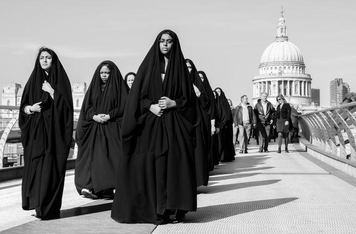 """International Women's Day, captured in passing on the Millennium bridge."""