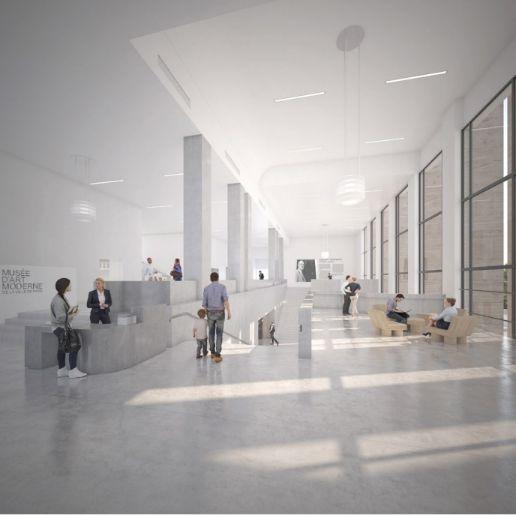 Un dessin du nouveau hall du musée d'art moderne de la ville de Paris,