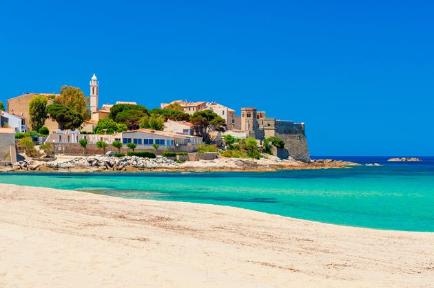 Beach and Coastline of Algajola, Corsica,