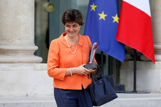 French Minister of the Armed Forces, Sylvie Goulard, leaves the Elysee Palace after a weekly cabinet...