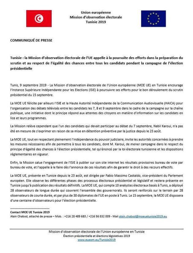 Communiqué de presse de la Mission d'observation électorale de