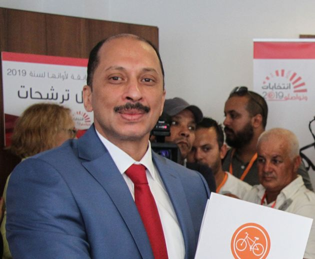 Mohamed Abbou, Tunisian would-be presidential candidate is pictured after submitting his candidacy to...