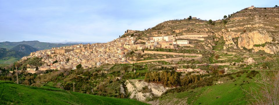 Leonforte, typical Sicilian inland village on the slope of a