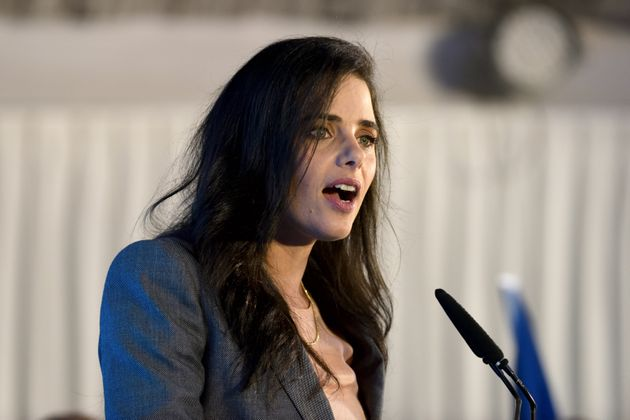 United Right party leader and former Israeli Justice Minister, Ayelet Shaked, speaks to supporters during...