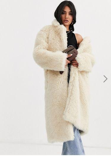 Womens ladies Boohoo Teddy Bear Faux Fur Coat Fluffy Soft Grey Black Jacket