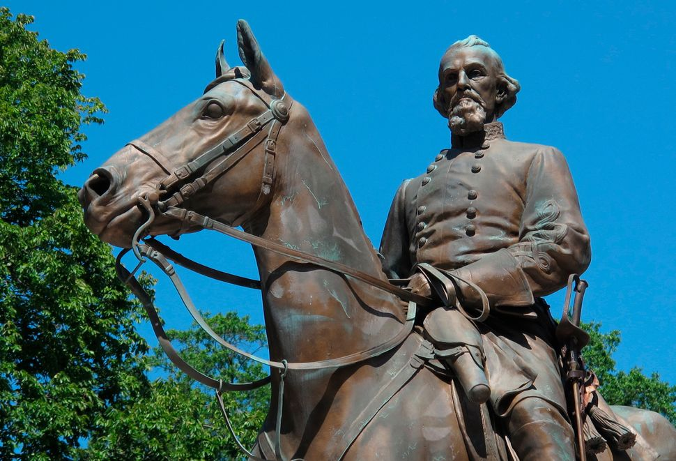 This statue of Confederate Gen. Nathan Bedford Forrest was removed from a park in Memphis after activists, including Tami Saw