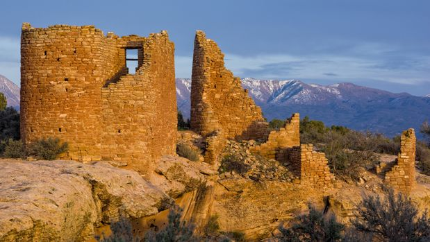 Hovenweep Pueblo Ruins at Sunset - Scenic landscape with ancient pueblo peoples ruins.  Anasazi.  Utah, USA.