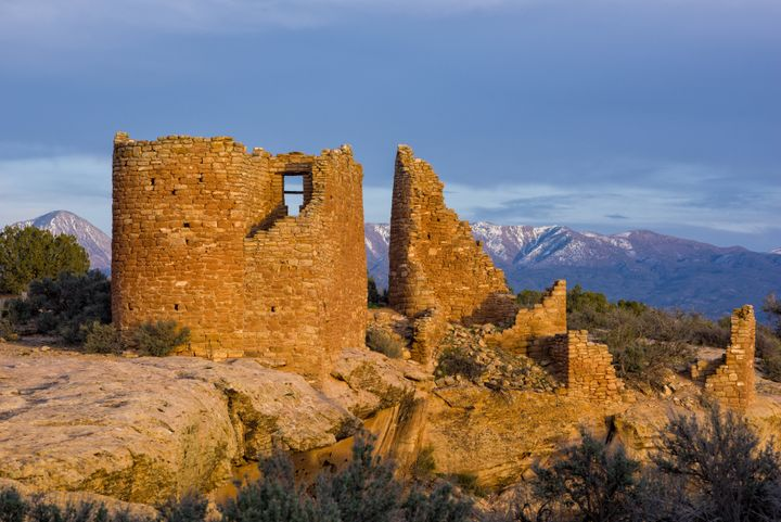 Ruins at Hovenweep National Monument are seen at sunset in this undated Getty file photo.