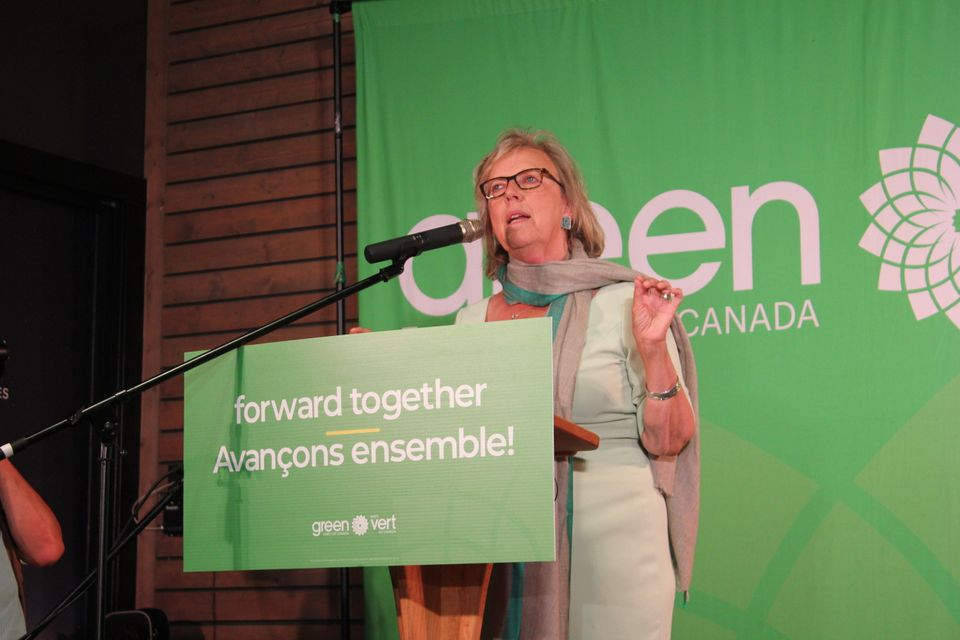 Elizabeth May speaks during a rally in Victoria on Sept.