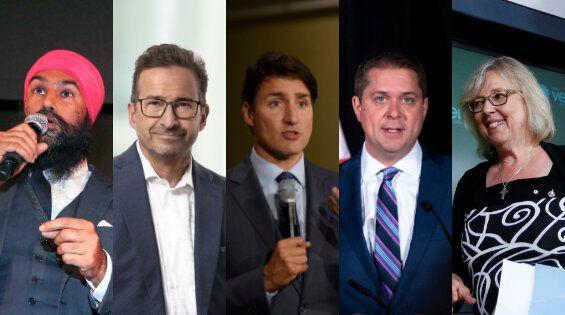 Jagmeet Singh, Yves-François Blanchet, Justin Trudeau, Andrew Scheer et Elizabeth
