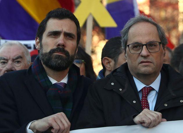 El presidente del Parlament, Roger Torrent, y el presidente de la Generalitar, Quim