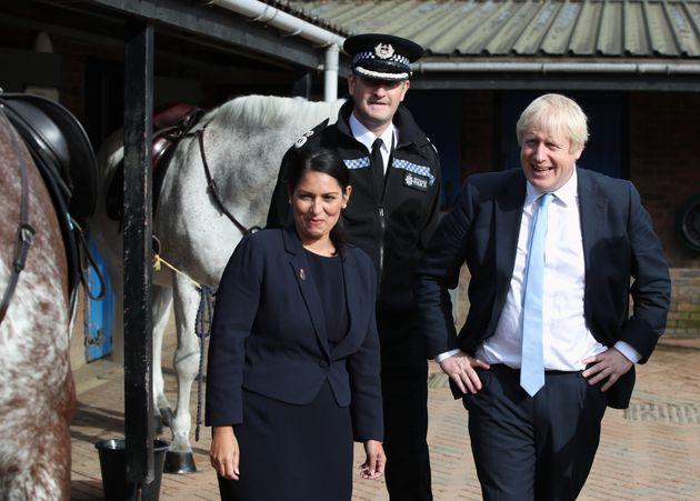 Home secretary Priti Patel with Boris
