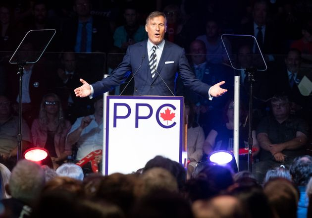 Maxime Bernier, leader of the People's Party of Canada, speaks in Sainte-Marie Que on Aug. 25,