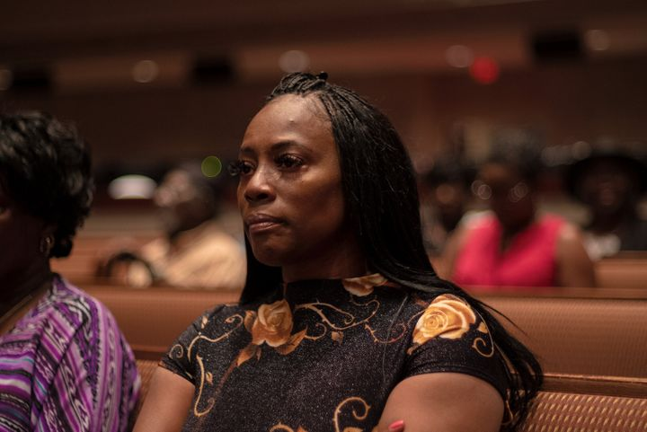 Crystal Mason attends church in Dallas on Sept. 8, 2019. Mason is fighting a five-year prison sentence for illegally voting.