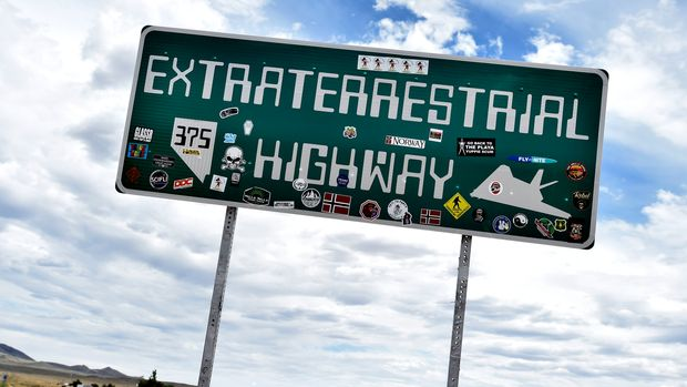 "RACHEL, NEVADA - JULY 22:  An Extraterrestrial Highway sign is posted along state route 375 on July 22, 2019 in Rachel, Nevada. State officials drew inspiration from the alien legends at the nearby top-secret military installation known as Area 51 and dubbed the 98 mile route from U.S. highway 93 to U.S. highway 6, the Extraterrestrial Highway in February 1996. A Facebook event entitled, ""Storm Area 51, They Can't Stop All of Us,"" which the author stated was meant as a joke, calls for people to storm the highly classified U.S. Air Force facility near Rachel on September 20, 2019, to address a conspiracy theory that the U.S. government is conducting tests with space aliens.  (Photo by David Becker/Getty Images)"