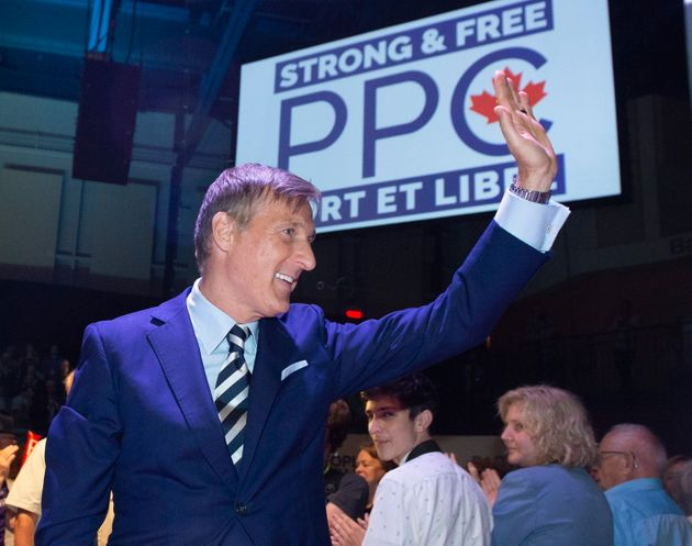 Maxime Bernier, leader of the People's Party of Canada, waves to supporters at the launch of his campaign...