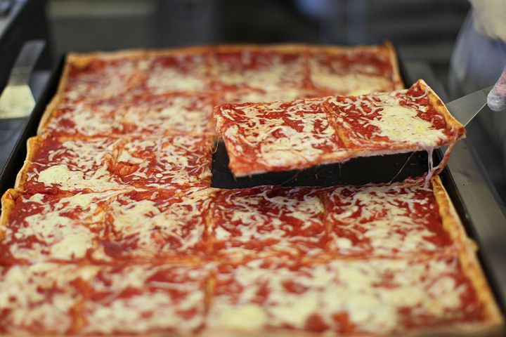 The famous square cheese beach pizza at Tripoli Bakery in Lawrence, Massachusetts.