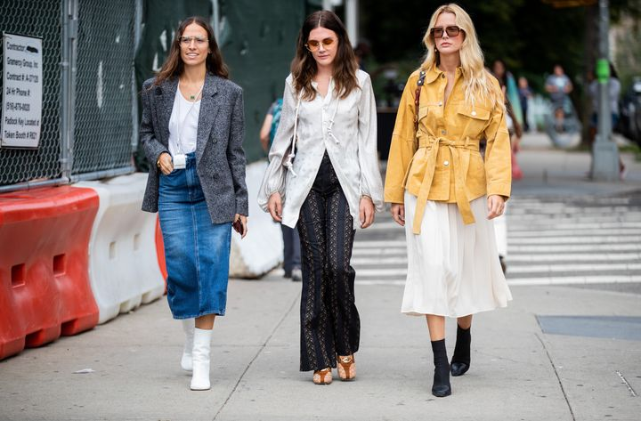 Guests outside Tory Burch during New York Fashion Week in September 2019.