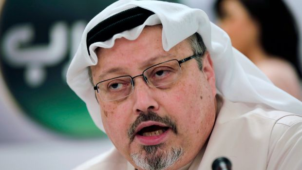 "FILE - In this Dec. 15, 2014, file photo, Saudi journalist Jamal Khashoggi speaks during a press conference in Manama, Bahrain.  More than a dozen global news organizations including The Associated Press have formed a coalition to spotlight the world's most threatened journalists. Member editors and publishers of the One Free Press Coalition will publish across platforms each month a ""10 Most Urgent"" list of journalists whose press freedoms are being abused. (AP Photo/Hasan Jamali, File)"