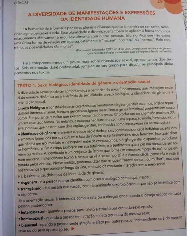 Página de material didático criticado por Doria com