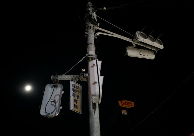 Not working traffic signals are seen in a blackout caused by Typhoon Faxai in Kisarazu, Chiba prefecture,...