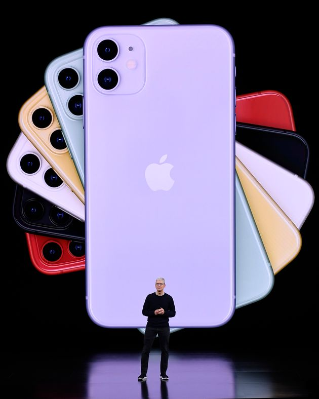 Apple CEO Tim Cook delivers the keynote address during an Apple launch event on September 10, 2019 in...