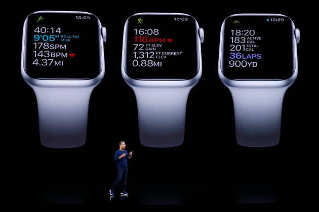 Stan Ng presents the new Apple Watch at an Apple event at their headquarters in Cupertino, California,...