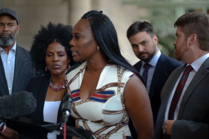Crystal Mason stands outside the Tim Curry Criminal Justice Center in Fort Worth, Texas, after an appeals hearing in Septembe
