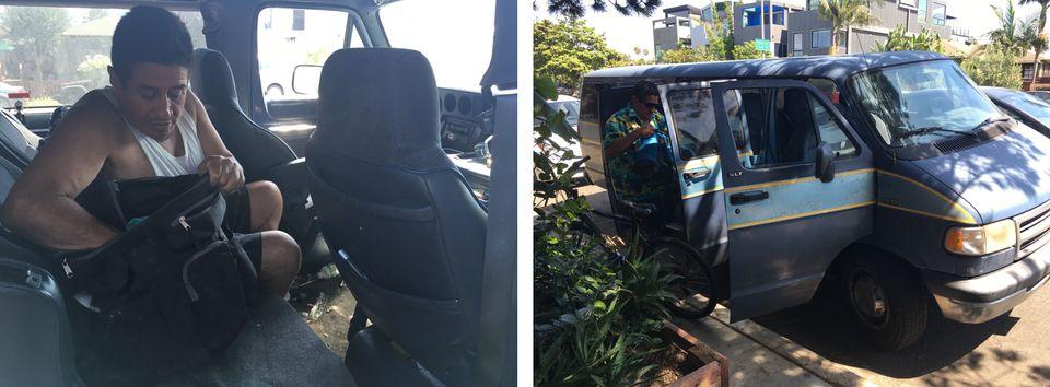 Edgar Lopez, 56 ans, vit dans le bazar de son van depuis son divorce il y a quinze ans. Il travaille...
