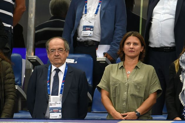 Noël Le Graët, président de la FFF, et Roxana Maracineanu, ministres des Sports, dans...
