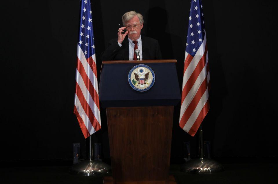 U.S. National Security Adviser John Bolton speaks during a press conference in Jerusalem, Tuesday, June...