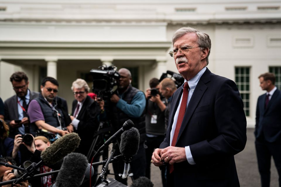 WASHINGTON, DC - MAY 1 : National Security Advisor John R. Bolton speaks to reporters and members of...