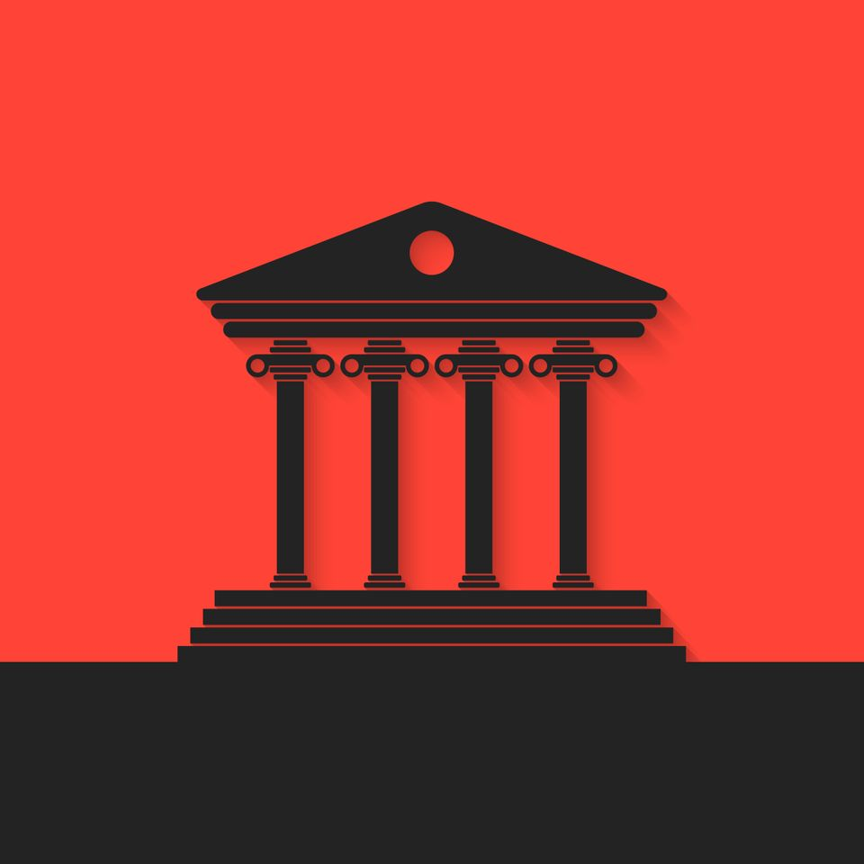 black greek colonnade on red background. concept of real estate, library, temple, capitol, parthenon, retro facade, banking establishment. flat style trend modern design vector illustration