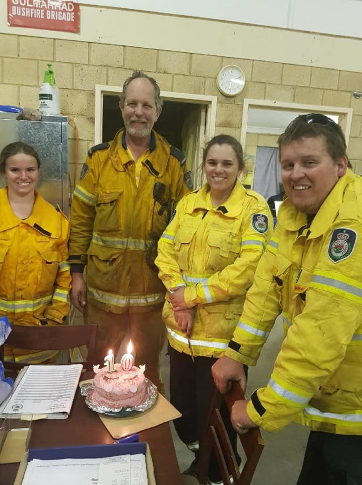 Gulmarrad Rural Fire Brigade near the northern NSW town of Yamba rustled up some candles at the station for a photo, although they were slightly off with the age as the donor turned 12 this week.