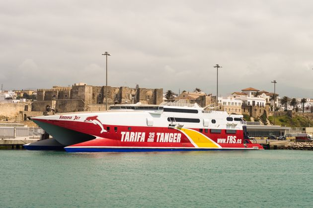 Tarifa, Spain - May 19, 2015: Express ferry going from Tarifa in Spain to Tanger in Morocco. Operated...