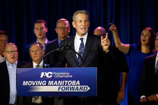 Manitoba Progressive Conservative Leader speaks to supporters after his victory in the provincial election...