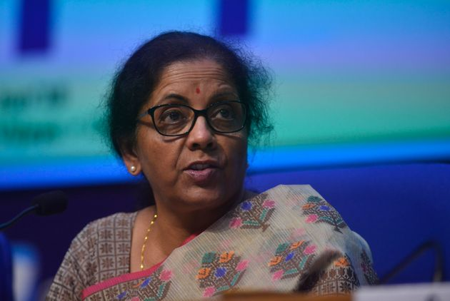Nirmala Sitharaman clicked while interacting with media at a press conference in New