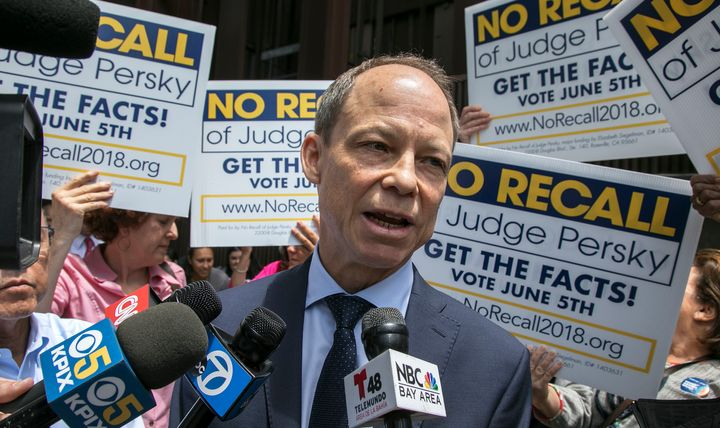 Judge Aaron Persky talks to the media at the No Recall campaign rally in front of the Santa Clara County Government Center in